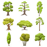 Vector stylized trees