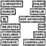 Set of rubber stamps with messages refused, rejected, cancelled,