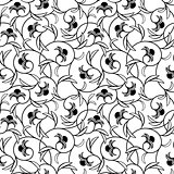 abstract flowers black seamless background
