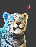 Low poly portrait of a leopard. Vector eps 10