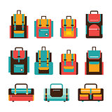 Colorful travel bag and packpack set Modern flat design