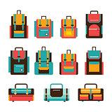 Colorful travel bag and packpack set Modern flat design