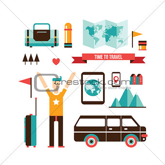 Tourism and travel Set of modern flat design elements
