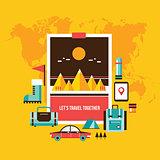 Tourism and travel Set of modern flat design elements