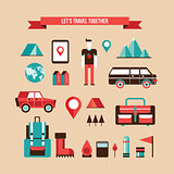 Tourism Travel Camping and Hiking Set of flat design elements