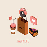 Delicious Food order Dessert Cake Donut Coffee Tea cup Isometric