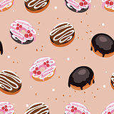 Seamless background pattern Delicious dessert Donuts with glaze and sprinkles