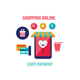 Online shopping e-commerce Mobile payment Successful business concept