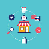 E-commerce concept Online shopping Modern flat design