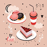 Delicious Food Sweet menu Dessert set Donut Cake Coffee cup
