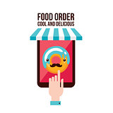 Online food order app Person choosing donut menu flat design