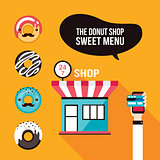 Donut icons Delicious dessert Food ordering Cafe shop facade