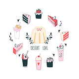 Delicious food dessert collection Milkshake Cake Pudding Cupcake Food
