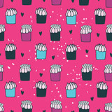 Colorful hand drawn Seamless background pattern with delicious dessert cupcakes