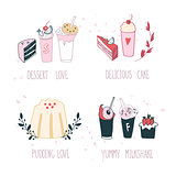 Hand drawn delicious dessert collection Milkshake Cake Pudding Cupcake Food