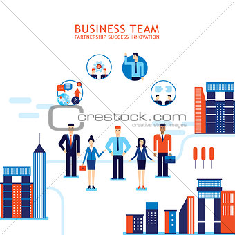 Group of business people on city background