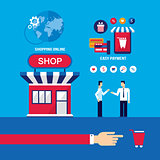 Shopping Online Mobile payment E-commerce business Technology concept