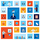 Successful business businessman people icon set