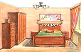 Interior sketch design of bedroom. Watercolor sketching idea