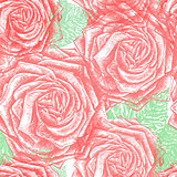 Seamless vintage Rose Pattern, vector, EPS10.