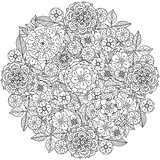 Floral ornament.  Art of mandala style.  Zentangle patters.