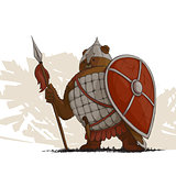 Bear warrior with a spear