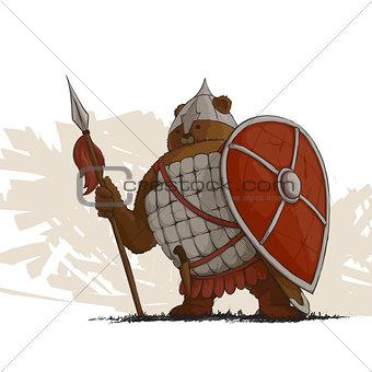 Bear warrior with a spear