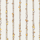 Seamless pattern of random gold hearts