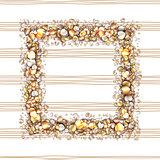 Vintage frame with golden hearts