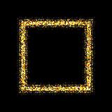 Golden frame on black background