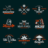 Set of Japan Ninja Logo. Ninjato sword insignia design. Vintage shuriken badge. Mixed martial art tournament t-shirt illustration on navy background