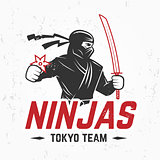 Japan Ninjas sport Logo concept. Katana weapon insignia design. Vintage ninja mascot badge. Martial art Team t-shirt illustration.