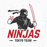 Japan Ninjas sport Logo concept. Katana weapon insignia design. Vintage ninja mascot badge. Martial art Team t-shirt illustration.