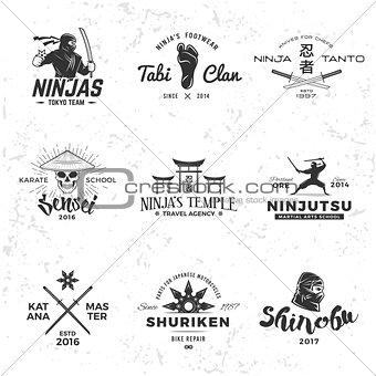 Set of Japan Ninja Logo. Sensei skull insignia design. Sport samurai mascot badge. Katana master t-shirt concept on grunge background