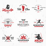Set of Japanese Ninjas Logo. Katana master insignia design. Vintage ninja mascot badge. Martial art Team t-shirt illustration concept on grunge background
