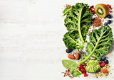 Ingredients for making healthy green smoothie or salad