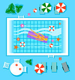 Swimming Pool in Top View with Outdoor Element. Vector Illustration
