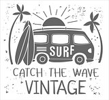 Summer Surf Print with a Mini Van, Palm Trees and Lettering. Vector Illustartion