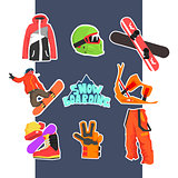 Snowboarding Icon Set. Vector Illustration