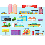 Big City Buildings Set. Vector Illustartion
