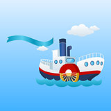 Nautical Ship. Ribbon, Flag and Sea Boat.