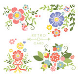 Floral Vintage Elements for Cards and Decor. Vector Set