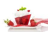 Delicious strawberry jelly dessert.