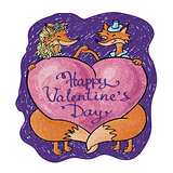 valentine hand drown card with lettering. Happy valentines day