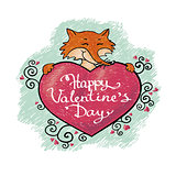 valentine card with fox. Happy valentines day