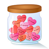jar with red hearts and I Love You text in many languages