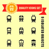 quality trains icon set