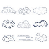 Handdrawn Cloud Collection. Vector Illustration