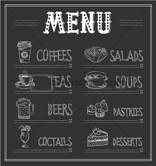 Chalkboard Menu Template of Food and Drinks. Vector Illustration