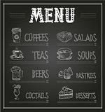 Chalkboard Menu Template of Food and Drinks. Vector Illustration